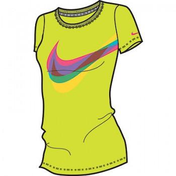 Dámské sportovní triko Nike SWOOSH THROUGH SS CREW 459584-367 AKCE